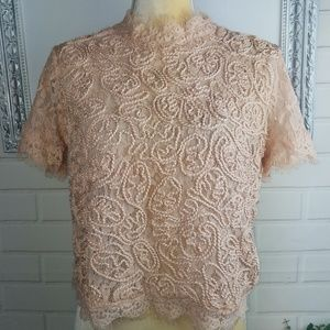 Zara embroidered lace short sleeve top size large